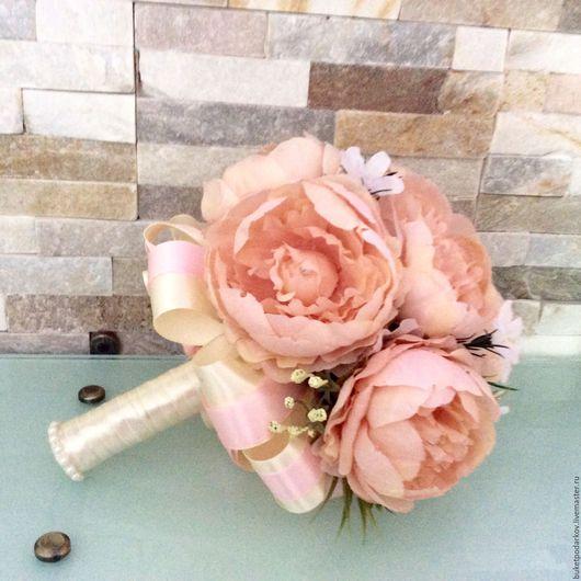 """Свадебные цветы ручной работы. Ярмарка Мастеров - ручная работа. Купить Букет - дублер """"Пион""""( розовый). Handmade. Комбинированный"""
