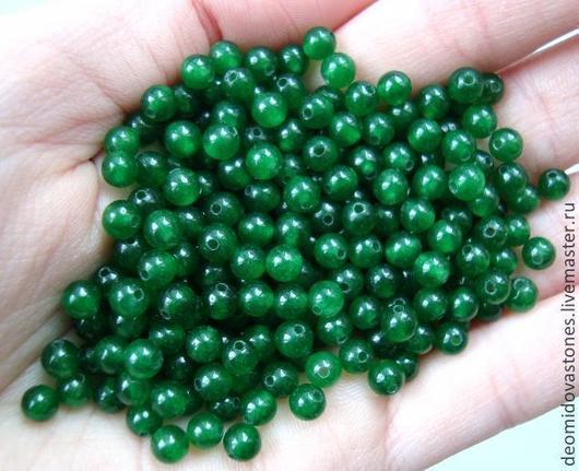 Для украшений ручной работы. Ярмарка Мастеров - ручная работа. Купить Агат зеленый, мелкие бусины, 4 мм, по 10 бусин.. Handmade.