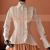 Одежда handmade. Livemaster - original item Victorian Gothic Romantic Cotton Blouse. Handmade.