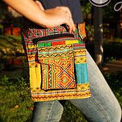 """Сумки и аксессуары ручной работы. Ярмарка Мастеров - ручная работа Яркая сумка на пояс """"Yellow Hmong"""". Handmade."""