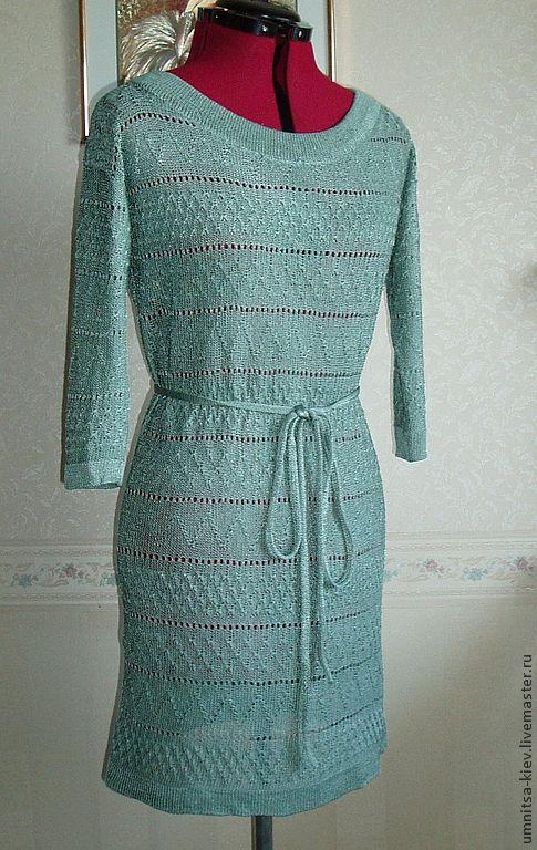Элегантное вязаное летнее платье.\r\nПлатье настолько приятное, шелковистое, нежное, что не хочется снимать.\r\nПлатье связано из итальянского шелка.\r\nЭффектно смотрится.\r\nВязание на заказ подчеркнет Вашу