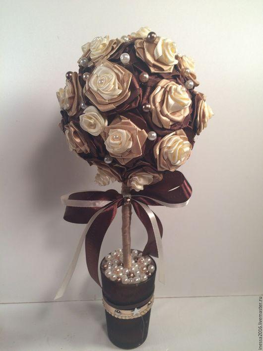 """Топиарии ручной работы. Ярмарка Мастеров - ручная работа. Купить Топиарий """"Шоколадные розочки"""". Handmade. Топиарий, розы из лент, коричневый"""