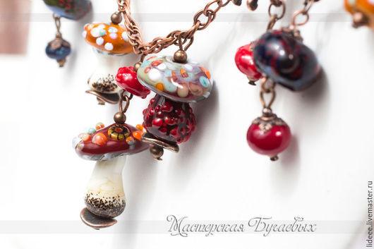 Колье, бусы ручной работы. Ярмарка Мастеров - ручная работа. Купить Колье из стекла - Грибная фея - авторский лампворк. Handmade.