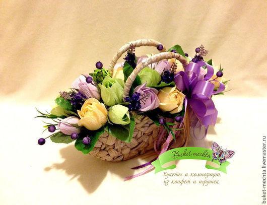 """Букеты ручной работы. Ярмарка Мастеров - ручная работа. Купить Букет из конфет """"Весенний"""". Handmade. Сладкий подарок, сиреневые розы"""