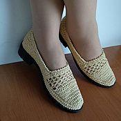 Обувь ручной работы handmade. Livemaster - original item Knitted loafer shoes ( raffia yarn-straw color). Handmade.