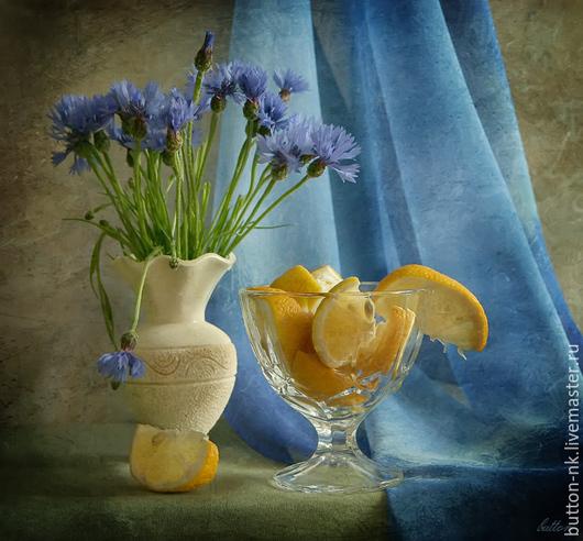 Фотокартины ручной работы. Ярмарка Мастеров - ручная работа. Купить Натюрморт Васильковое лето со вкусом лимона (васильки в вазе). Handmade.