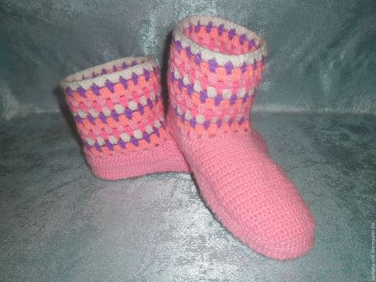 """Обувь ручной работы. Ярмарка Мастеров - ручная работа. Купить Сапожки домашние """"Ягодный щербет"""". Handmade. Комбинированный, домашняя обувь"""