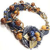Украшения handmade. Livemaster - original item Miss Jeans. Necklace and brooch. Handmade.