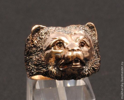 """Кольца ручной работы. Ярмарка Мастеров - ручная работа. Купить кольцо """"Медведь"""". Handmade. Золотой, кольцо, амулет, мужское, с камнями"""