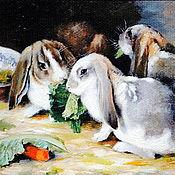 """Картины ручной работы. Ярмарка Мастеров - ручная работа Картина маслом""""Морковка лучший друг"""".. Handmade."""