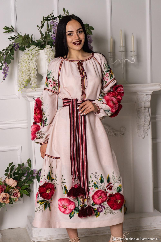 Платья ручной работы. Ярмарка Мастеров - ручная работа. Купить Розовое платье из льна с вышивкой. Handmade. Вышивка гладью
