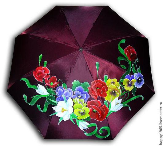 """Зонты ручной работы. Ярмарка Мастеров - ручная работа. Купить зонт ручной росписи """"Буйство красок"""". Handmade. Бордовый, маки"""
