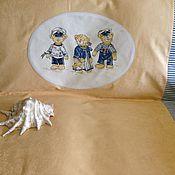 """Для дома и интерьера ручной работы. Ярмарка Мастеров - ручная работа Покрывало """"Мишки-моряки"""" (желтое). Handmade."""