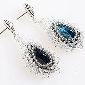 Украшения handmade. Livemaster - original item Earrings with Apatite and Swarovski crystals