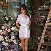 """Одежда ручной работы. Ярмарка Мастеров - ручная работа Пеньюар """"Нежный белый"""" - свадебный шифоновый с кружевом. Handmade."""