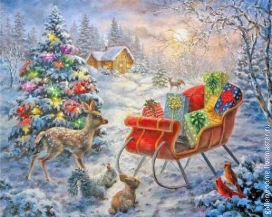 """Другие виды рукоделия ручной работы. Ярмарка Мастеров - ручная работа. Купить Картина по номерам на холсте """"Ночь перед Рождеством"""" Худ. Ники Боэм. Handmade."""