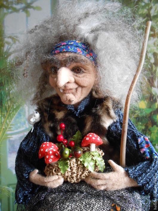 Человечки ручной работы. Ярмарка Мастеров - ручная работа. Купить БАБА   ЯГА  валяная. Handmade. Бежевый, кукла текстильная, человечки