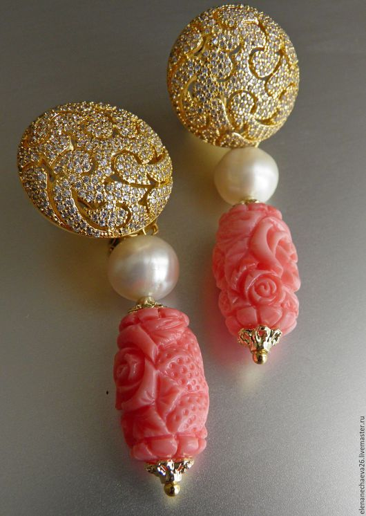 Серьги ручной работы. Ярмарка Мастеров - ручная работа. Купить Серьги с розовым кораллом.Натуральные камни.. Handmade. Коралловый