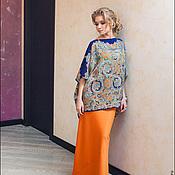 Одежда ручной работы. Ярмарка Мастеров - ручная работа Блуза синяя с орнаментом. Handmade.