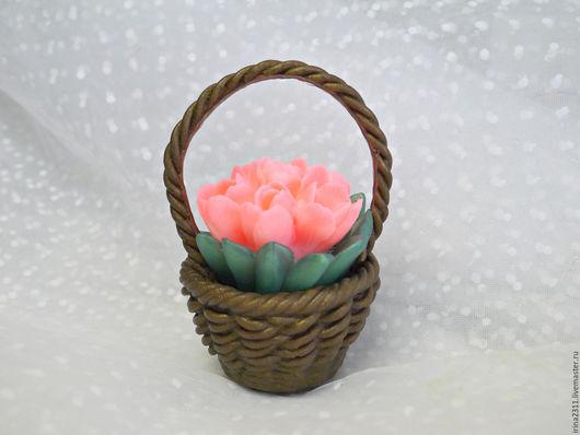 """Мыло ручной работы. Ярмарка Мастеров - ручная работа. Купить Мыло """"Букет тюльпанов в корзинке"""". Handmade. Тюльпаны, корзинка с цветами"""