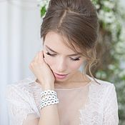 Украшения handmade. Livemaster - original item Leather bracelet wrapped/necklace White highlights. Handmade.