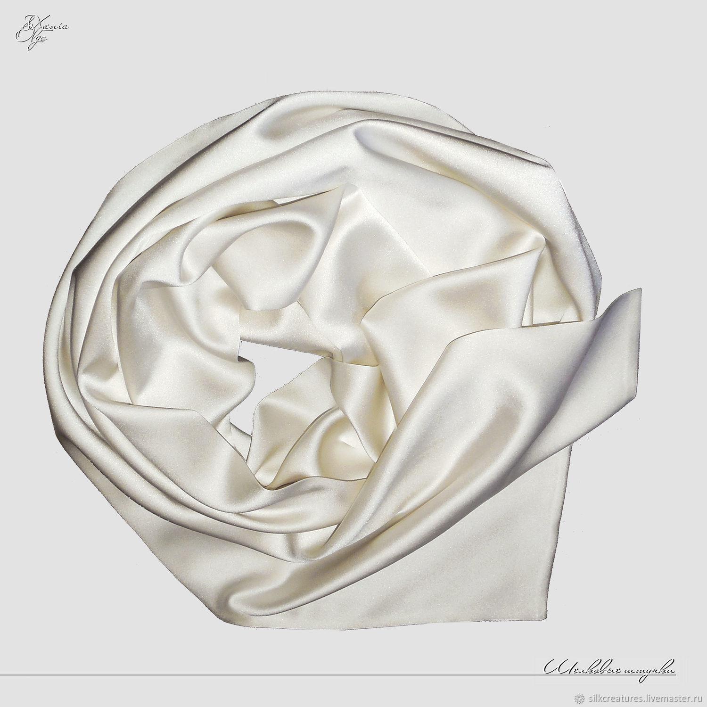 Белый мужской шелковый шарф кашне из натурального итальянского атласа Подарок мужчине девушке женщине платок палантин шелковый шарф с ручной росписью ручная роспись по шелку купить Петербург