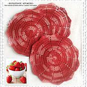 Для дома и интерьера handmade. Livemaster - original item Serving napkins, set of knitted napkin Strawberry dessert. Handmade.
