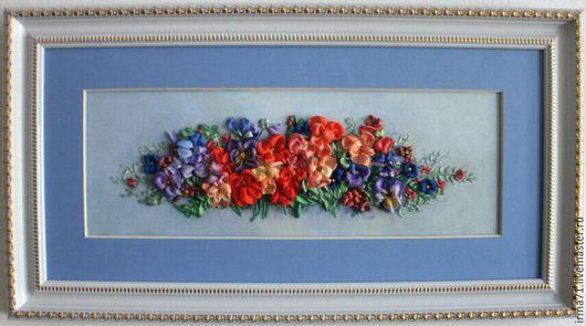 Картины цветов ручной работы. Ярмарка Мастеров - ручная работа. Купить Фиалки. Handmade. Синий, Вышивка лентами, ручная работа