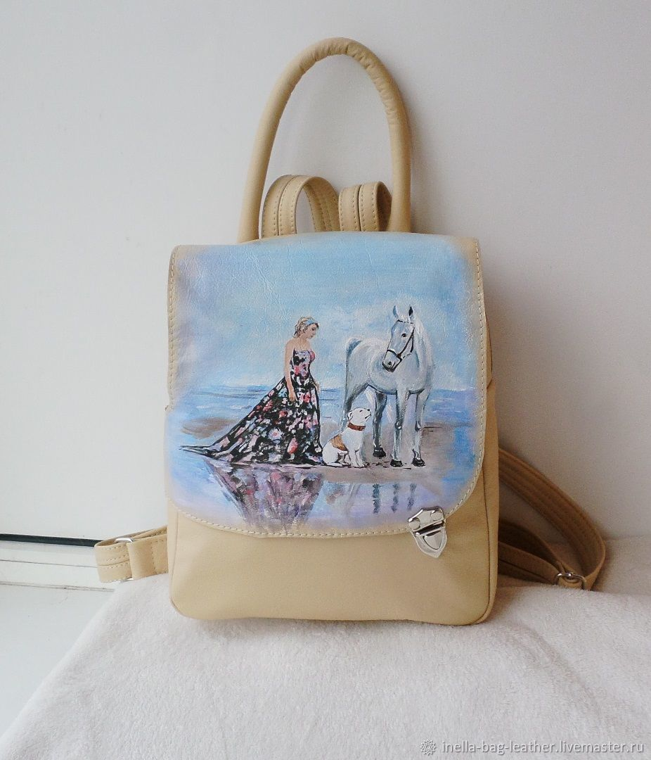 Backpack leather bag with custom painting for Catherine, Backpacks, Noginsk,  Фото №1