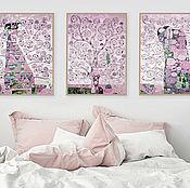 Картины и панно handmade. Livemaster - original item Modular picture in pink tones with a gold leaf Tree of life. Gustav Klimt. Handmade.