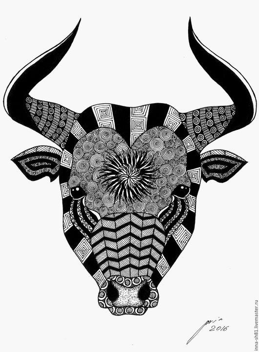 Животные ручной работы. Ярмарка Мастеров - ручная работа. Купить Бык. Handmade. Чёрно-белый, бык, животное, графика
