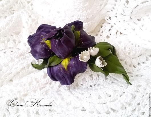 Заколки ручной работы. Ярмарка Мастеров - ручная работа. Купить Фиолетовый ирис из кожи Заколка автомат цветы для волос. Handmade.