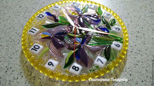 """Часы для дома ручной работы. Ярмарка Мастеров - ручная работа. Купить Часы """"Ирисы"""". Handmade. Комбинированный, Фьюзинг"""