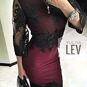 Одежда handmade. Livemaster - original item Wine dress with lace. Handmade.