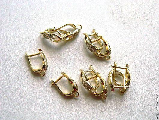 Для украшений ручной работы. Ярмарка Мастеров - ручная работа. Купить Швензы серебро  английский замок позолоченные, желтое золото. Handmade.