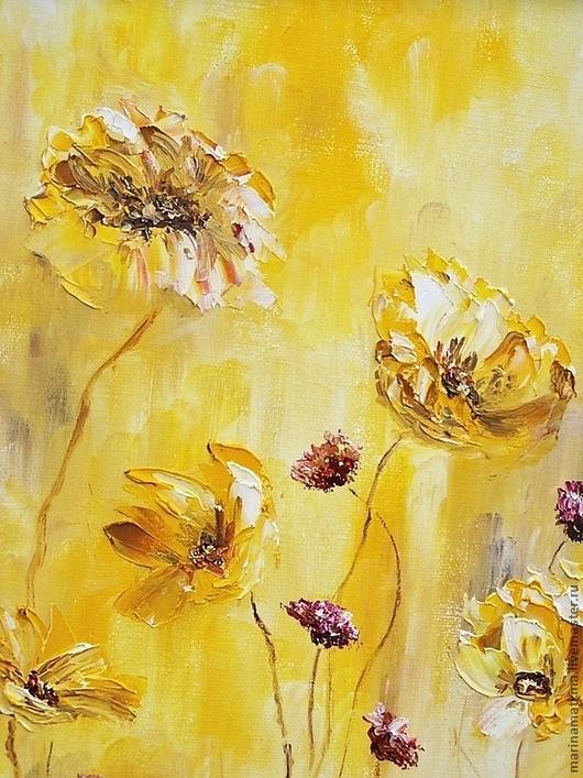 """Картины цветов ручной работы. Ярмарка Мастеров - ручная работа. Купить Картина маслом """"Желтые цветы"""". Handmade. Желтый, цветы"""