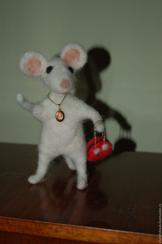 Игрушки животные, ручной работы. Ярмарка Мастеров - ручная работа. Купить Мышь. Handmade. Белый, мышь валяная, шерсть меринос