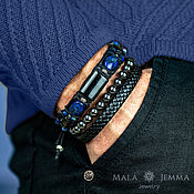 Украшения handmade. Livemaster - original item Aura Hypersthene Wide Leather men`s bracelet with Lapis stone. Handmade.