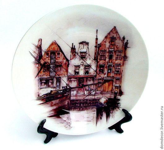 """Тарелки ручной работы. Ярмарка Мастеров - ручная работа. Купить Тарелка """"Домики Голландии"""". Handmade. Бежевый, домики, тарелка, сувенир"""