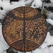 Музыкальные инструменты handmade. Livemaster - original item Three of the world. Drum leather. 30 cm.. Handmade.