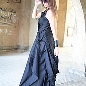 Одежда handmade. Livemaster - original item Long, black linen dress in Boho style - DR0227CT. Handmade.