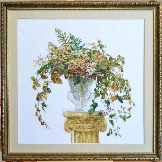 """Картины цветов ручной работы. Ярмарка Мастеров - ручная работа. Купить Вышитая картина  """"Осенний букет"""". Handmade. Осень, вышивка"""
