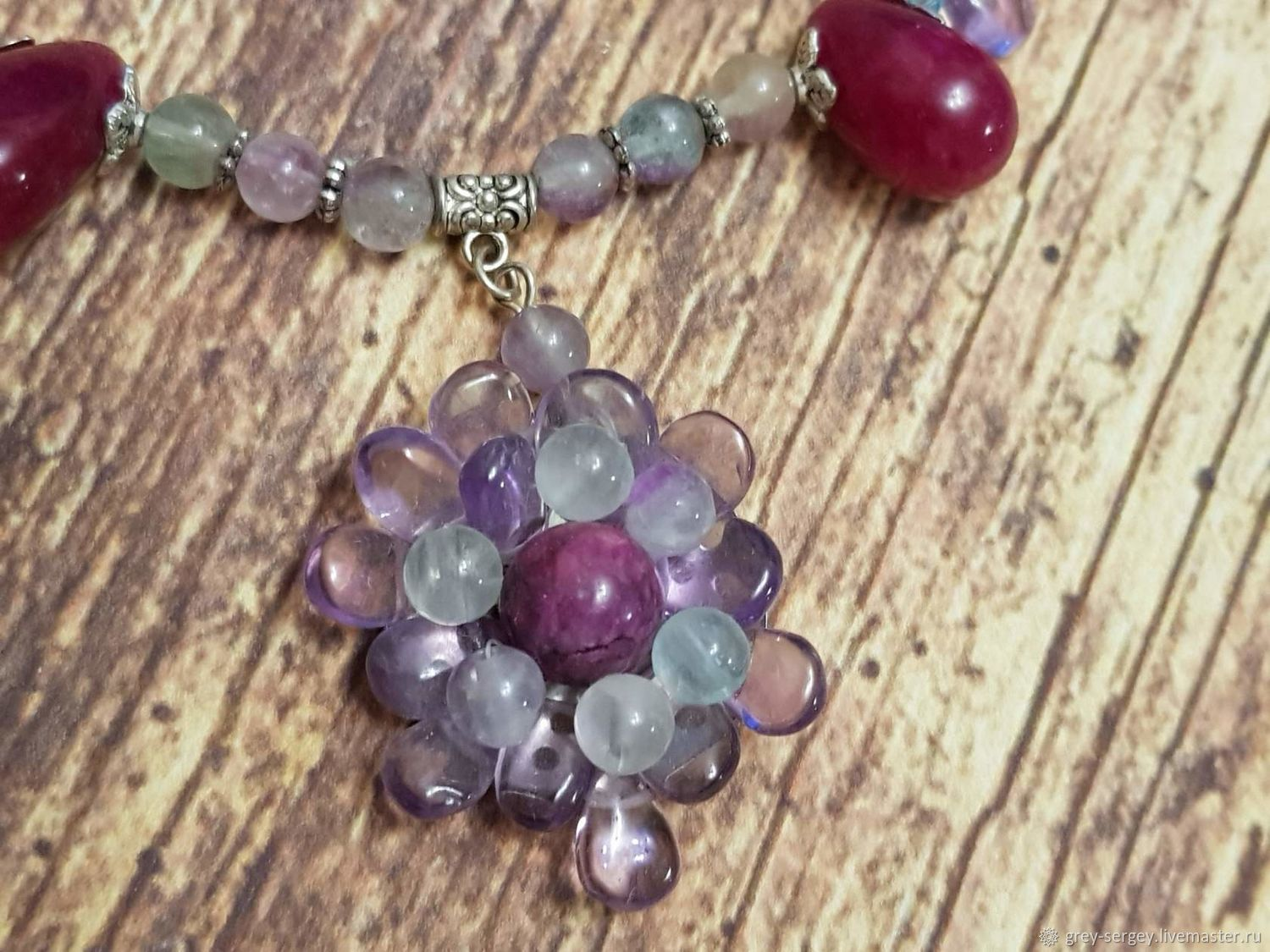 Choker Overseas flower from amethyst and flurite, Necklace, ,  Фото №1