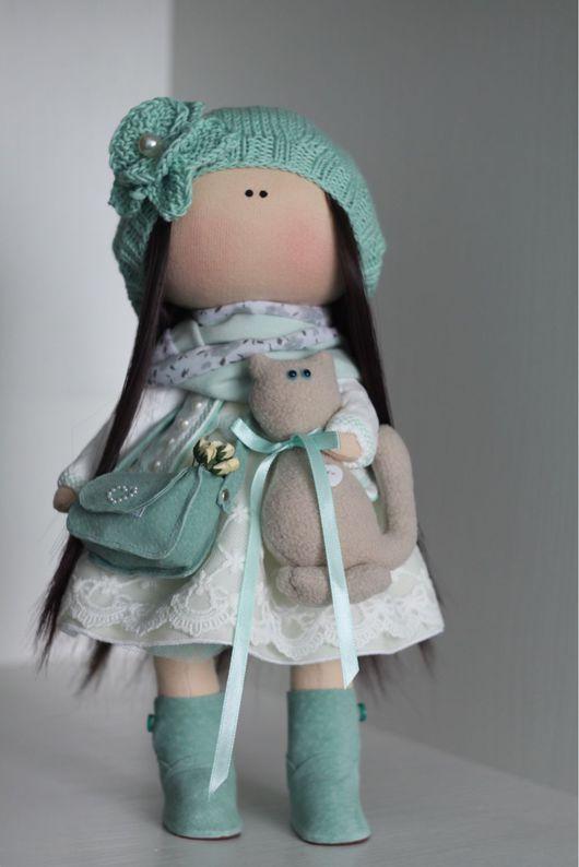 Куклы тыквоголовки ручной работы. Ярмарка Мастеров - ручная работа. Купить Интерьерная кукла. Handmade. Мятный, ручная работа, трикотаж