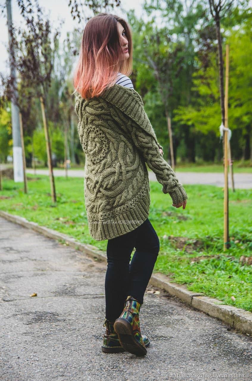 "Жакет -кардиган ""В кругу тепла"" 1 оливкового цвета, Жакеты, Николаев,  Фото №1"