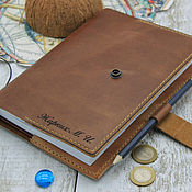 handmade. Livemaster - original item Leather cover for a diary with an engraving. Handmade.