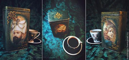 Кухня ручной работы. Ярмарка Мастеров - ручная работа. Купить Банка для кофе «Muhtesem Yuzyil/Великолепный век». Handmade. Болотный, золотой