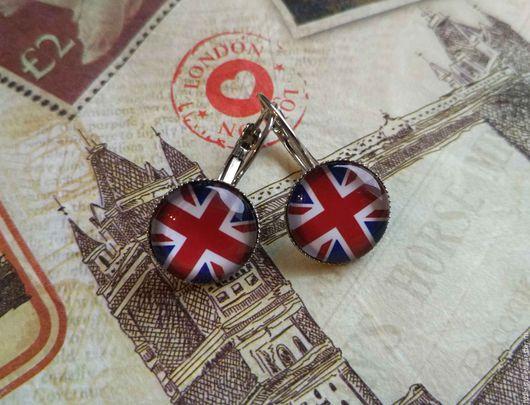 Серьги ручной работы. Ярмарка Мастеров - ручная работа. Купить Серьги Британский флаг (швензы). Handmade. Комбинированный, флаг