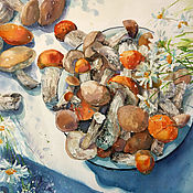 Картины и панно handmade. Livemaster - original item Watercolor painting Mushrooms. Summer still life.. Handmade.
