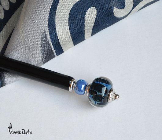 Шпилька, палочка для волос `Летняя ночь`. Заколка канзаши. Лаконичное и стильное украшение для длинных волос.  Автор Даша Вереск